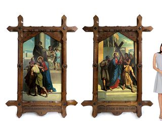19th C. Monumental Pair of Framed Religious Paintings