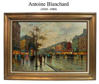 Parisian Street, Antoine Blanchard O/C Painting, Signed