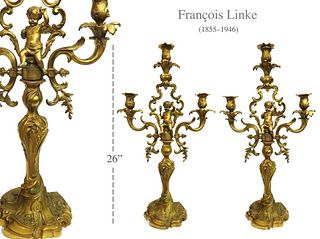 A Pair of F. Linke Figural Bronze Candelabras, 19th C.
