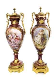 Large Pair of French Hand Painted Sevres Vases 23""