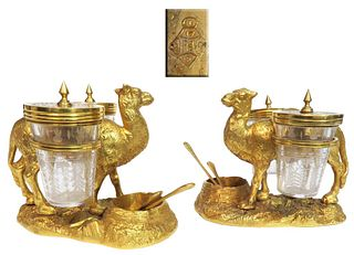 Pair of Gilt Bronze Crystal Camel Figural Condiment Set