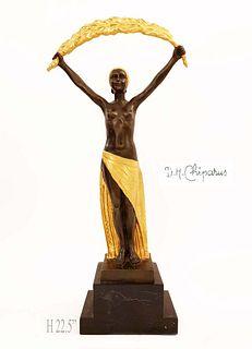 Femme a la Palme, After D.H.Chiparus Bronze Sculpture