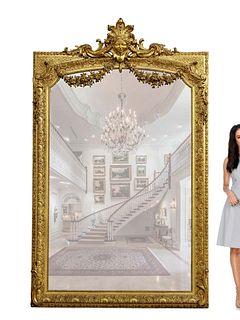 A Monumental 19th C. French Figural Gold Leaf Mirror