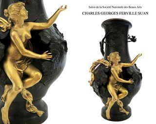 19TH C CHARLES GEORGES FERVILLE SUAN BRONZ FIGURAL VASE