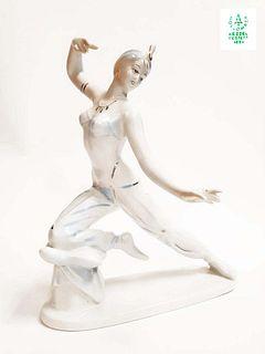 Vintage Orientalist Dancer Hollohaza Porcelain Figurine