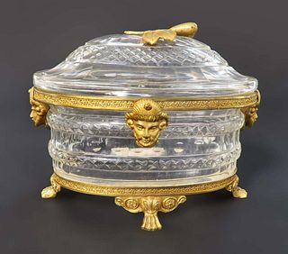 19th C. French Baccarat Bronze & Crystal Jewelry Box