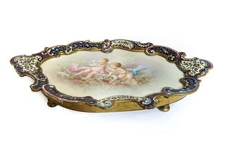 Fine Champleve Enamel Bronze Sevres Tray, CARLE Signed