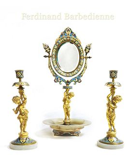 F. Barbedienne Champleve Figural Mirror W/Candle Sticks