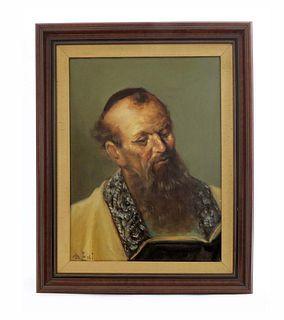 Very Fine Judaica Rabbi Painting. Signed