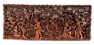 Vintage Figural Thai Wooden Carved Panel