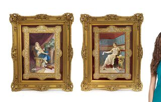 A Pair of Large Framed Berlin KPM Plaques