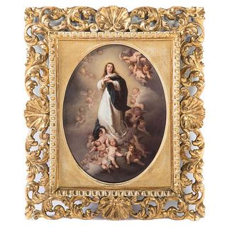 """Exceptional KPM """"Madonna"""" Framed Oval Plaque, 19th C."""