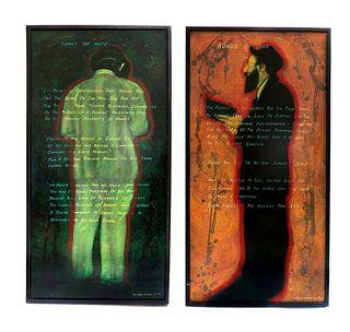 A Pair of Modern Judaica Rabbi Paintings C. Campbell