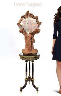 19th C. Large Terracotta Lorenzo Vergnano Mirror
