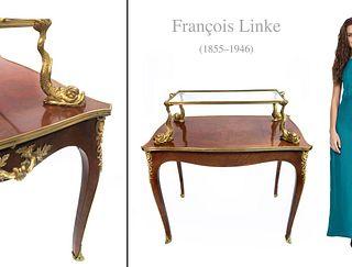 F. LINKE ORMOLU-MOUNTED KINGWOOD & PARQUETRY TEA-TABLE