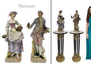 Very Large Pair of Genuine 19th C. Meissen Figurines