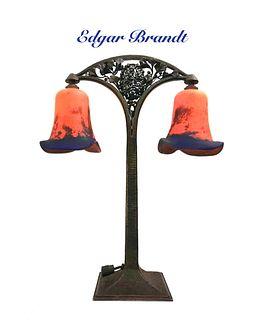 Edgar Brandt & Daum Table Lamp