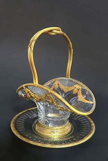 Bronze & Baccarat Crystal Basket Centerpiece/Plate