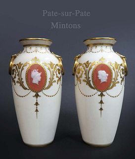 A Pair of 19th C. Minton Porcelain Pate-Sur-Pate