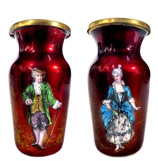A Pair of 19th C. French Enamel on Copper Vases