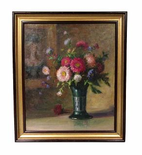 19th C. Russian O/C Still Life Painting of Bouquet