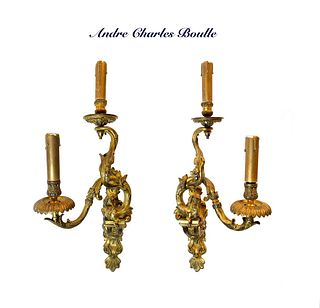 Pair of Ormolu Two-Branched Wall-Lights, Boulle Signed