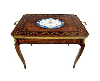 19th C. French Bronze Mounted Marquetry & Sevres Table