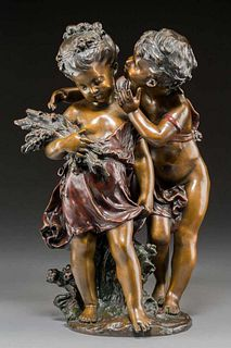 After August Moreau Cold-Painted Bronze Figural Group