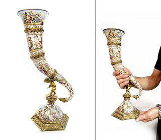 Very Large 19th C. Viennese Enameled Miniature Horn