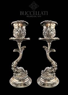 A Pair of Mario Buccellati Sterling Silver Candlesticks