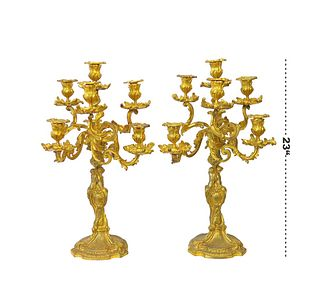 A Pair of Large Barbedienne Gilt Bronze Candelabras