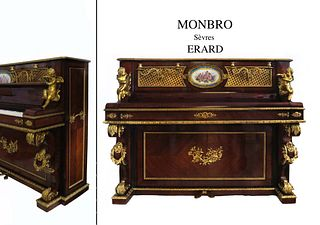 A NAPOLEON III ORMOLU-MOUNTED SEVRES UPRIGHT PIANO