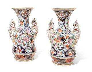 A PAIR OF JAPANESE PATTERN PORCELAIN VASES, 19th C.
