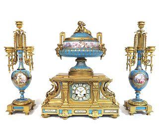 A Large Sevres Gilt Bronze Clock Set, 19th C.