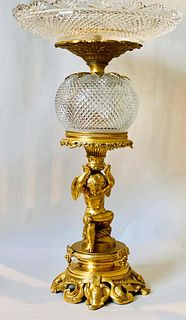 19th C. Gilt Bronze & Baccarat Crystal Centerpiece