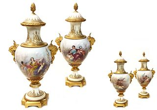 A Pair of French Sevres Bronze & Porcelain Vases