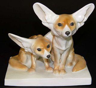 19th Century German Meissen Fennec Foxes