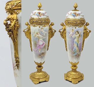 Pair of Sevres Hand Painted Bronze Lidded Vases, 19th C