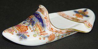 19th Century German Meissen Hand Painted Porcelain Shoe