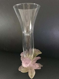 A DAUM Rose Crystal Vase, Signed
