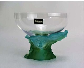 A DAUM Pate de Verre Lady Glass Bowl, Signed
