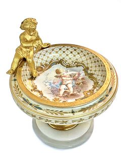 A French Champleve Enamel Bronze & Marble Centerpiece