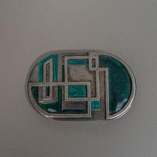 María Rivolta. Hebilla de cinturón en metal plateado esmaltado / Enameled silverplate buckle