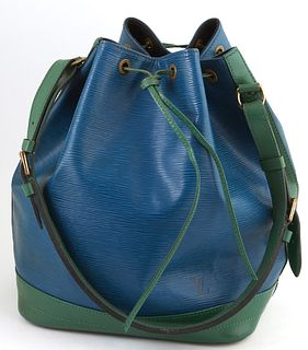 Louis Vuitton Noe Bicolor Blue and Green GM Epi Leather Shoulder Bag, with green and blue stitching and brass hardware, opening to a black suede inter