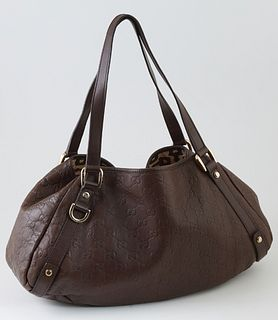 Gucci Dark Brown Leather Abbey Hobo Handbag, with brown leather double handles and gold hardware, the interior of the bag lined in a tricolor equestri