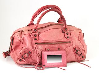Balenciaga Light Pink Distressed Leather Twiggy Shoulder Bag, the exterior with aged brass hardware and a side zip compartment with a long leather pul