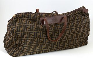 Vintage Fendi Zucca Zip Duffle, with dark brown leather accents and gold hardware, H.- 14 in., W.- 20 in., D.- 5 in.
