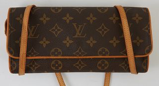 Louis Vuitton Monogram Coated Canvas GM Twin Shoulder Bag, the flap opening to a beige suede interior with one pocket, the vachetta leather strap with