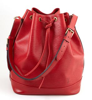 Louis Vuitton Noe Red GM Epi Leather Shoulder Bag, with red stitching and brass hardware, opening to a red suede interior with key ring, the strap wit