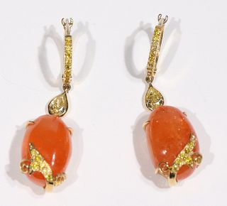 Pair of Laura Munder Mandarin Garnet Earrings
